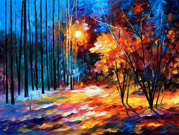Afremov Poster featuring the painting Shadows On Snow by Leonid Afremov