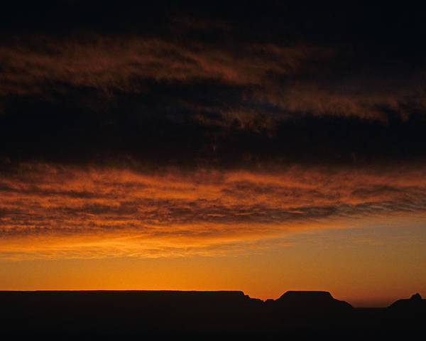 Grand Canyon National Park Poster featuring the photograph South Rim Grand Canyon Dramatic Clouds Sunset With Silhouetted R by Jim Corwin