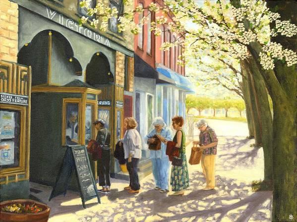 Blossburg Cinema Poster featuring the painting Spring Screening by Bibi Snelderwaard Brion