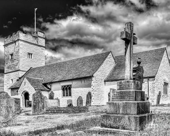 St Sannans Church Poster featuring the photograph St Sannans Church Bedwellty 2 Mono by Steve Purnell