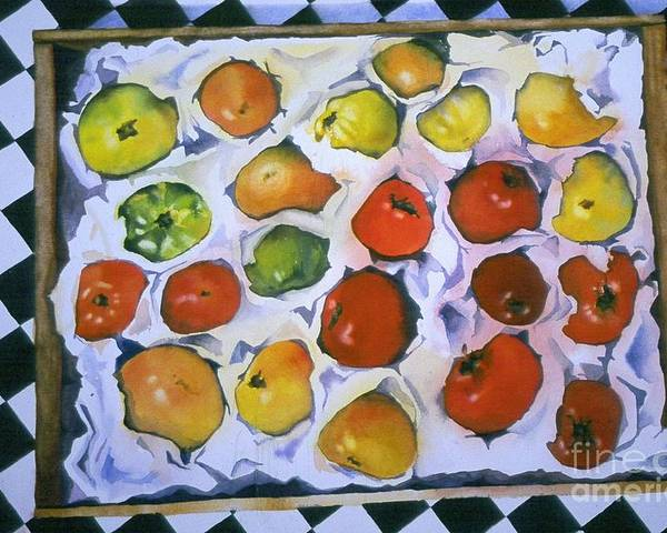 Tomatoes Poster featuring the painting Stop On Red by Elizabeth Carr