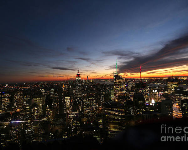 Rockefeller Center Poster featuring the photograph Sunset From Top Of The Rock by Steven Spak