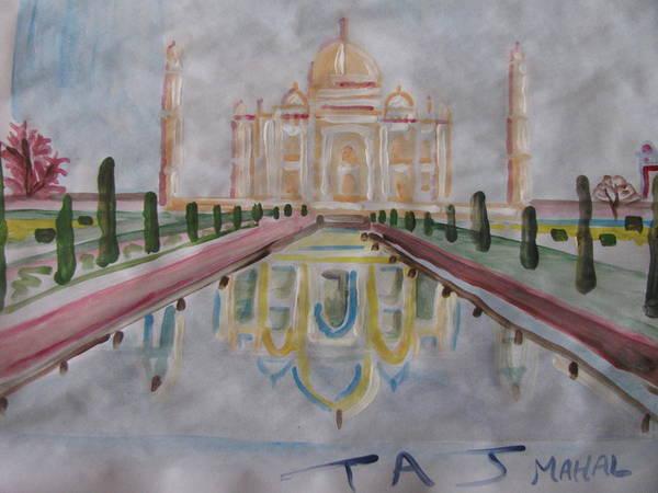 Taj Mahal Poster featuring the painting Taj Mahal by Vikram Singh