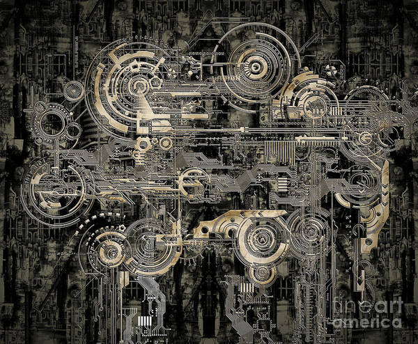 Design Poster featuring the mixed media Technically Electronic Background by Diuno Ashlee