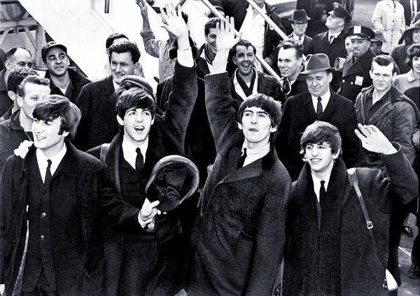 The Beatles Poster featuring the photograph The Beatles Land in America - 1964 by Mountain Dreams