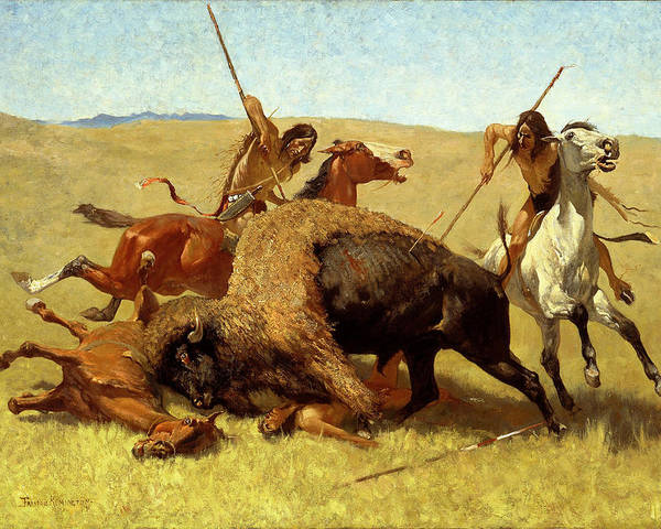 The Buffalo Hunt Poster featuring the digital art The Buffalo Hunt by Frederic Remington