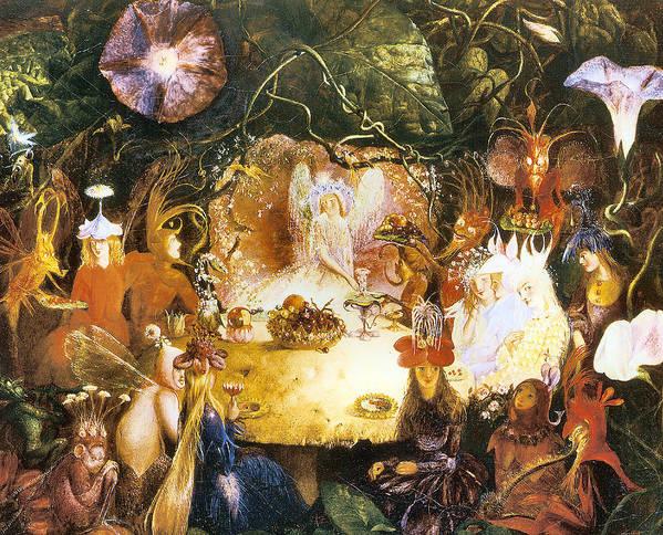 Fairies Banquet Poster featuring the digital art The Fairies Banquet by John Anster Fitzgerald