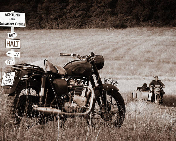 The Great Escape Poster featuring the photograph The Great Escape Motorcycle by Mark Rogan