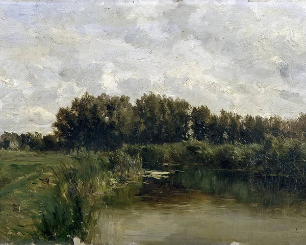 Carlos De Haes Poster featuring the painting The Lake In Friesland by Carlos de Haes