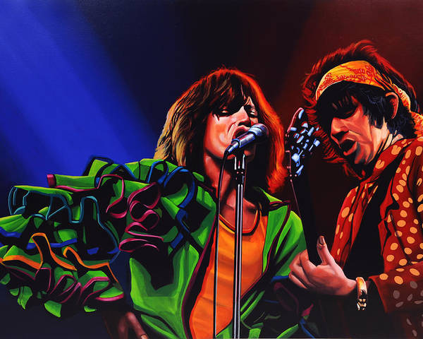 The Rolling Stones Poster featuring the painting The Rolling Stones 2 by Paul Meijering