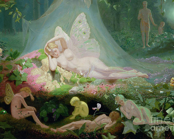 A Midsummer Night's Dream Poster featuring the painting There Sleeps Titania by John Simmons