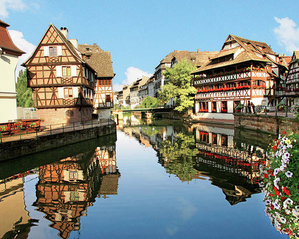 Accommodation Poster featuring the photograph Timbered Buildings, La Petite France by Miva Stock