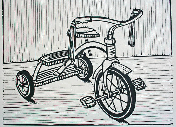 Tricycle Poster featuring the drawing Tricycle by William Cauthern
