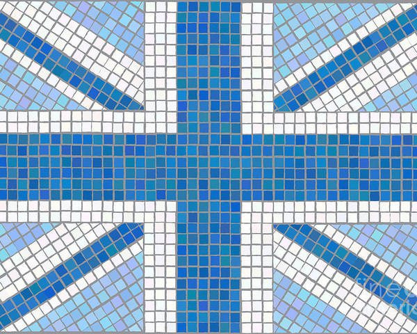 Background Poster featuring the digital art Union Jack Blue by Jane Rix