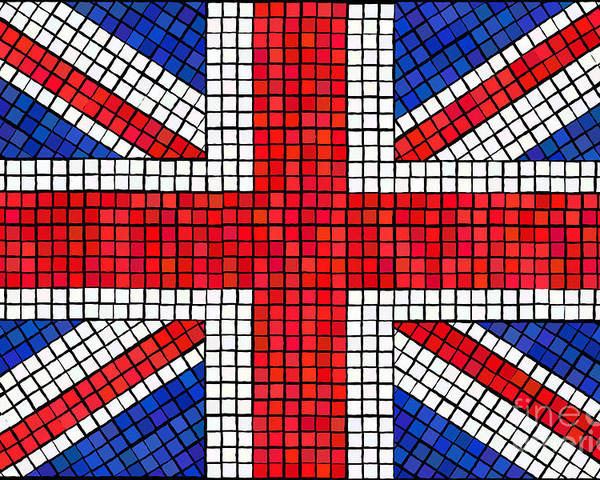 Background Poster featuring the digital art Union Jack Mosaic by Jane Rix