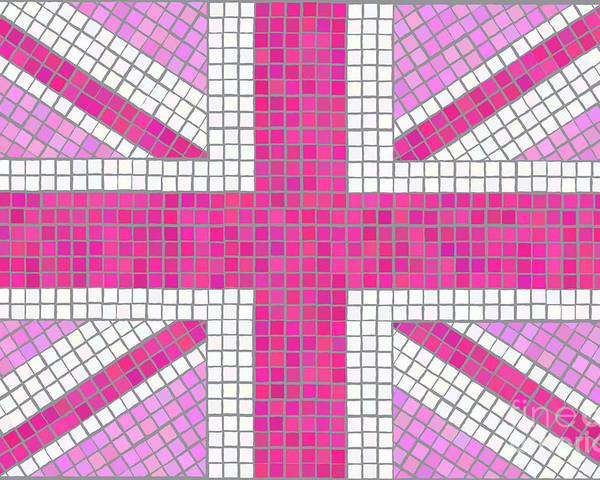 Background Poster featuring the digital art Union Jack Pink by Jane Rix