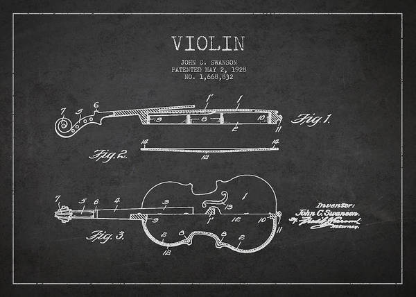 Violin Poster featuring the digital art Vintage Violin Patent Drawing From 1928 by Aged Pixel
