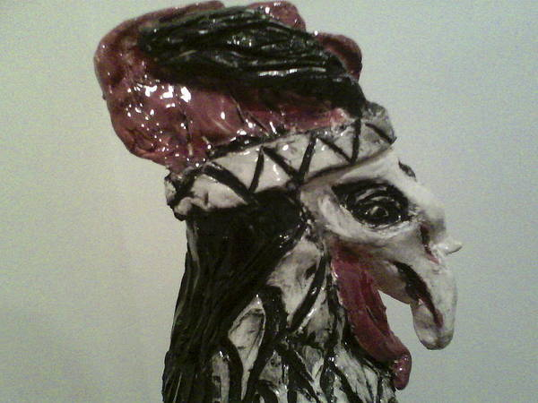 Ceramic Rooster Poster featuring the sculpture Warrior Rooster by Suzanne Berthier