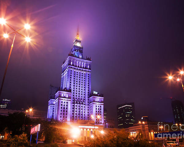Warsaw Poster featuring the photograph Warsaw Poland Downtown Skyline At Night by Michal Bednarek