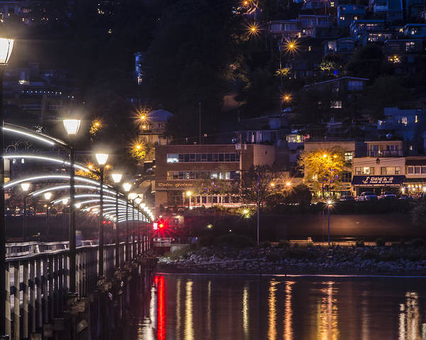 Night Shots Poster featuring the photograph White Rock Pier by Irene Theriau