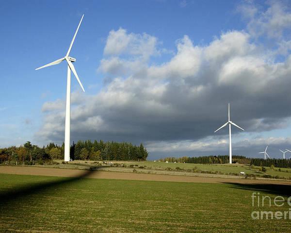 Auvergne Poster featuring the photograph Windturbines by Bernard Jaubert