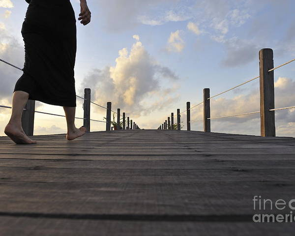 Barefeet Poster featuring the photograph Woman Walking On Wooden Jetty At Sunrise by Sami Sarkis