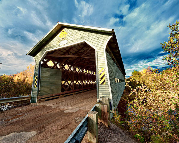 Bridge Poster featuring the photograph Wooden Covered Bridge by U Schade