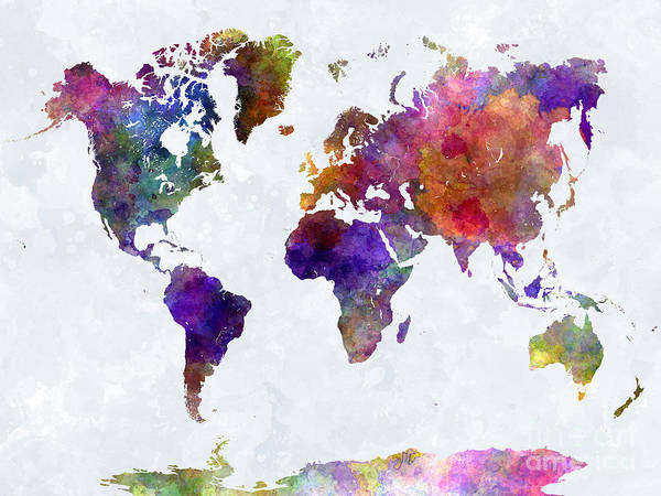 Map Poster featuring the painting World Map In Watercolor by Pablo Romero