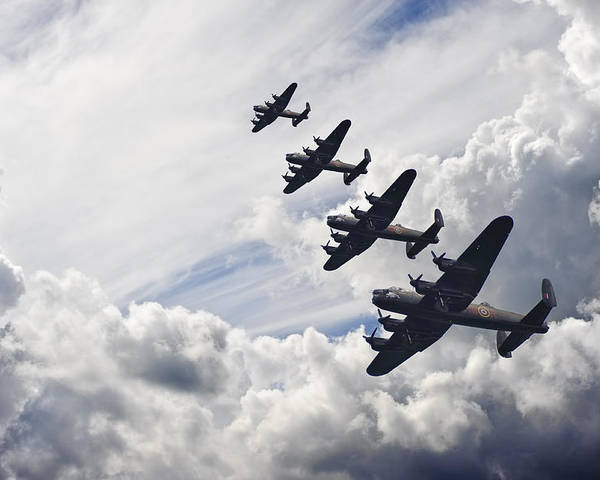 World War Two Poster featuring the photograph World War Two British Vintage Flight Formation by Matthew Gibson