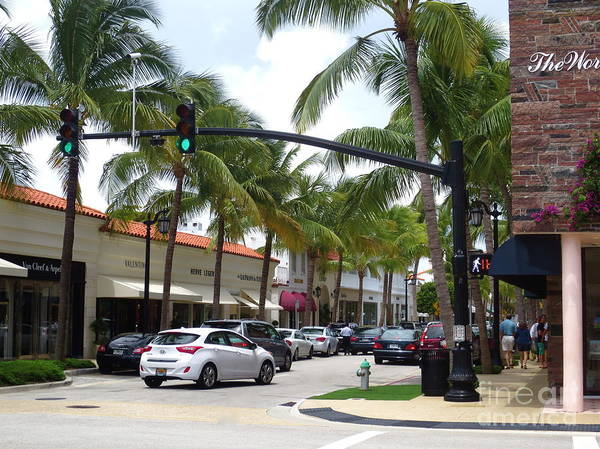 Worth Ave. Poster featuring the photograph Worth Ave Palm Beach Fl Facing West by Robert Birkenes