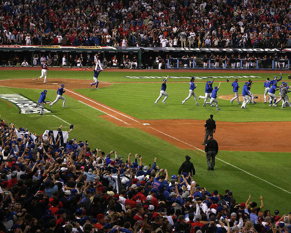 American League Baseball Poster featuring the photograph World Series - Chicago Cubs V Cleveland by Ezra Shaw