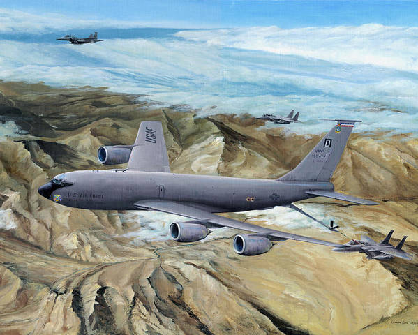 100th Arw Flagship Poster featuring the painting 100th Arw Flagship by Kenneth Karl
