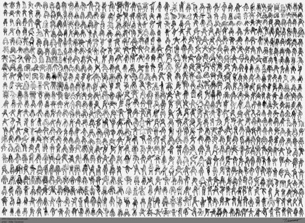 Thumbnails Poster featuring the drawing 1035 Character Thumbs by Mike Tiscareno