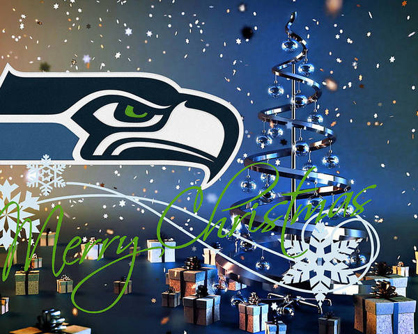 Seahawks Christmas Tree.Seattle Seahawks Poster