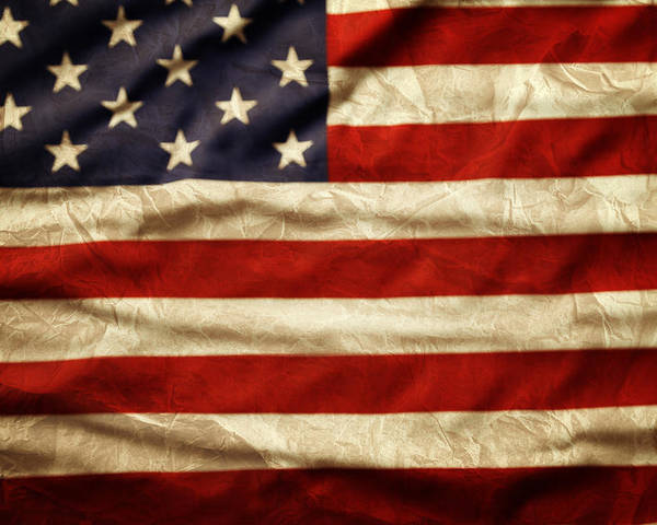 Wrinkled Poster featuring the photograph American Flag by Les Cunliffe
