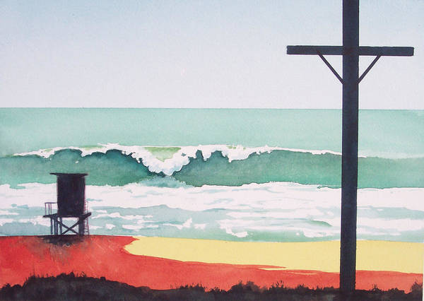 Surf Poster featuring the painting 14th Street Huntington Beach by Philip Fleischer