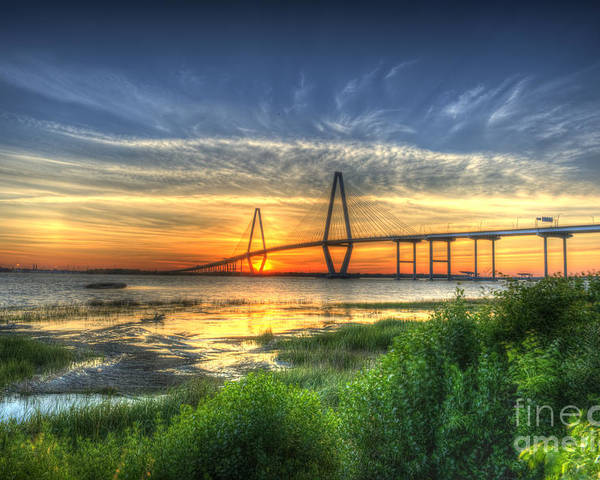 Arthur Ravenel Jr. Poster featuring the photograph Lowcountry Sunset by Dale Powell