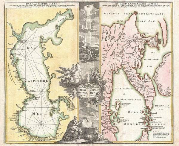 One Of Homann's Most Interesting And Influential Maps Poster featuring the photograph 1725 Homann Map Of The Caspian Sea And Kamchatka by Paul Fearn