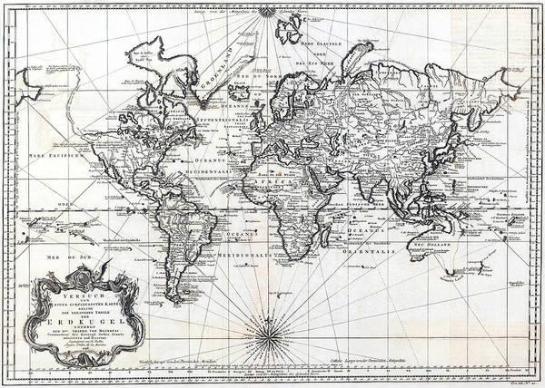 1748 Antique World Map Versuch Von Einer Kurzgefassten Karte Poster