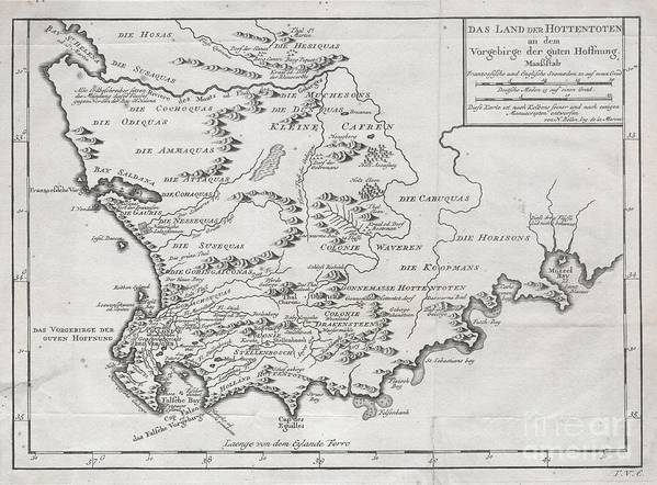 A Very Scarce Example Of Bellin's 1747 Map Of Southern Africa And The Cape Of Good Hope. Covers From The Bay Of St. Helena To Mussel Bay. Dutch Settlements Appear Along The Coast Line With African Tribal Regions Dominating The Interior. Features Excellent Geographical Detail Poster featuring the photograph 1757 Bellin Map Of South Africa And The Cape Of Good Hope by Paul Fearn