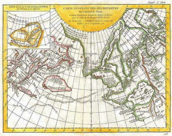 Poster featuring the photograph 1772 Vaugondy And Diderot Map Of The Pacific Northwest And The Northwest Passage by Paul Fearn