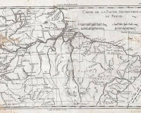 A Fine Example Of Rigobert Bonne And Guilleme Raynal's 1780 Map Of Northern Brazil. This Detailed Map Features The Northern Portion Of Brazil From Bahia To Guyana. This Also Includes A Portion Of The Amazon River And Its Adjancet Rainforest Poster featuring the photograph 1780 Raynal And Bonne Map Of Northern Brazil by Paul Fearn