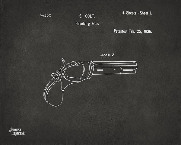 Colt Revolver Poster featuring the digital art 1836 First Colt Revolver Patent Artwork - Gray by Nikki Marie Smith