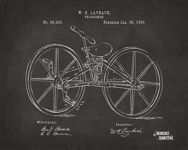 Bicycle Poster featuring the drawing 1869 Velocipede Bicycle Patent Artwork - Gray by Nikki Marie Smith