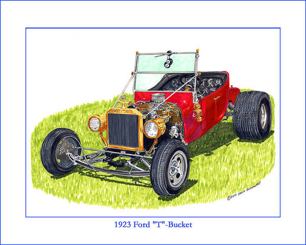 Framed Pen And Ink Images Of Classic Ford Cars. Pen And Ink Drawings Of Vintage Classic Cars. Black And White Drawings Of Cars From The 1920's Poster featuring the painting T Bucket Ford 1923 by Jack Pumphrey