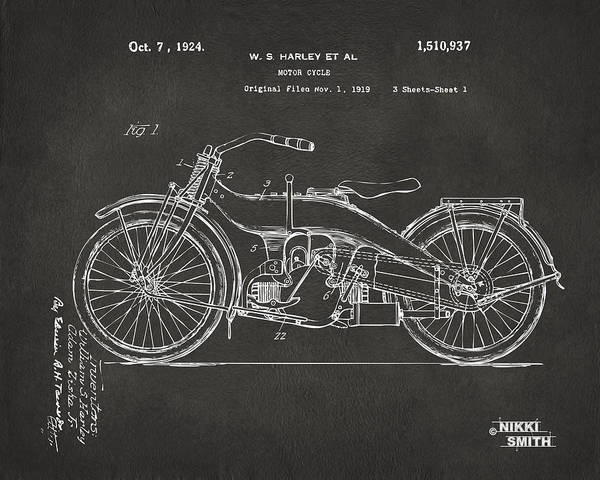 Harley Poster featuring the digital art 1924 Harley Motorcycle Patent Artwork - Gray by Nikki Marie Smith
