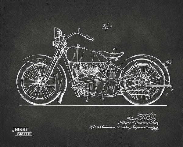 Harley Poster featuring the drawing 1928 Harley Motorcycle Patent Artwork - Gray by Nikki Marie Smith
