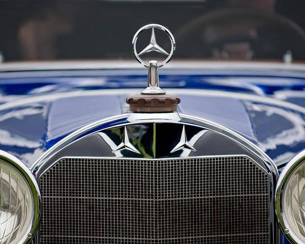 1929 Mercedes-benz S Erdmann & Rossi Cabiolet Poster featuring the photograph 1929 Mercedes Benz S Erdmann And Rossi Cabiolet Hood Ornament by Jill Reger