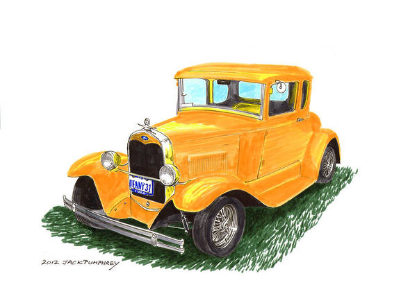 Framed Pen And Ink Images Of Classic Ford Cars. Pen And Ink Drawings Of Vintage Classic Cars. Black And White Drawings Of Cars From The 1930�s Poster featuring the painting 1931 Yellow Ford Coupe by Jack Pumphrey
