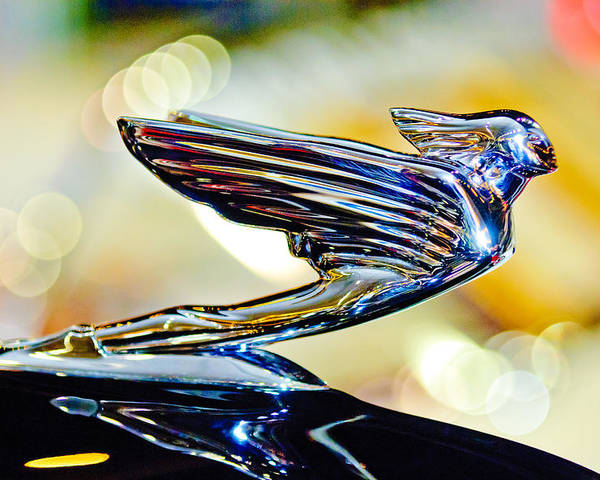 1938 Cadillac V-16 Sedan Poster featuring the photograph 1938 Cadillac V-16 Hood Ornament 2 by Jill Reger